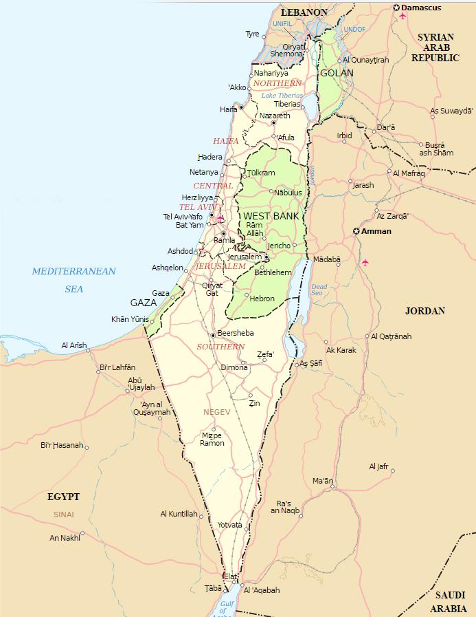 izrael térkép Izrael és a Palesztin Hatóság térképe, fotó: wikipédia » Izraelinfo