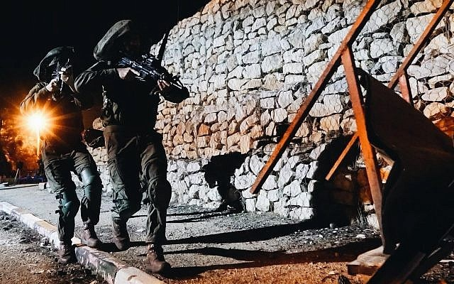 izraeli hadsereg katonai ejszaka hadgyakorlaton