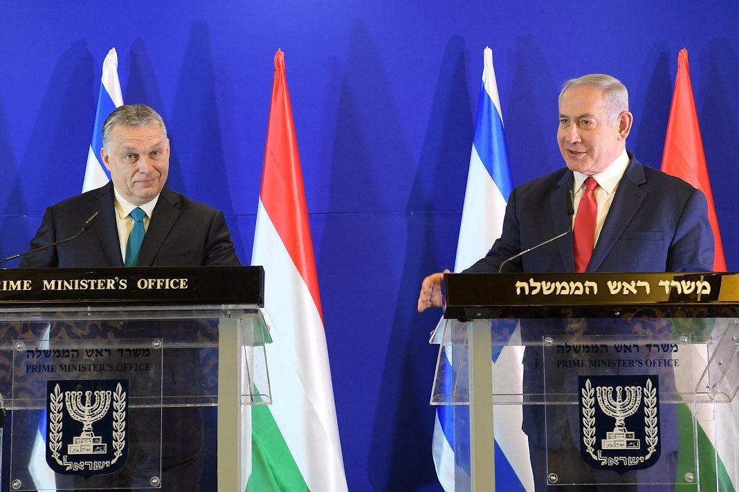 orban viktor es benjamin netanjahu izraeli magyar zaszlok