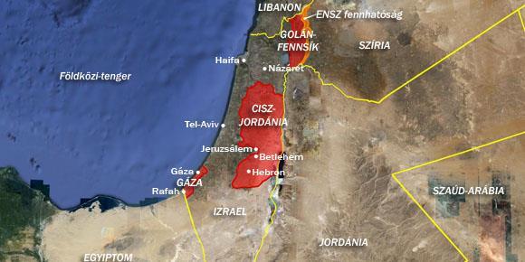izrael ciszjordania golanfennsik gazai-ovezet terkep fold