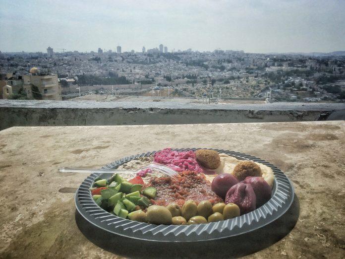 saláta, tányér, humusz, Jeruzsálem, olajbogyó