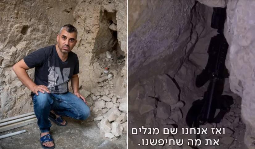 """Jobbra: A jelenet a """"Jeruzsálemi körzetben"""", ahol a fegyvert """"megtalálták"""". Balra: Szamer Szaliman a házának az alagsorában, a héten"""
