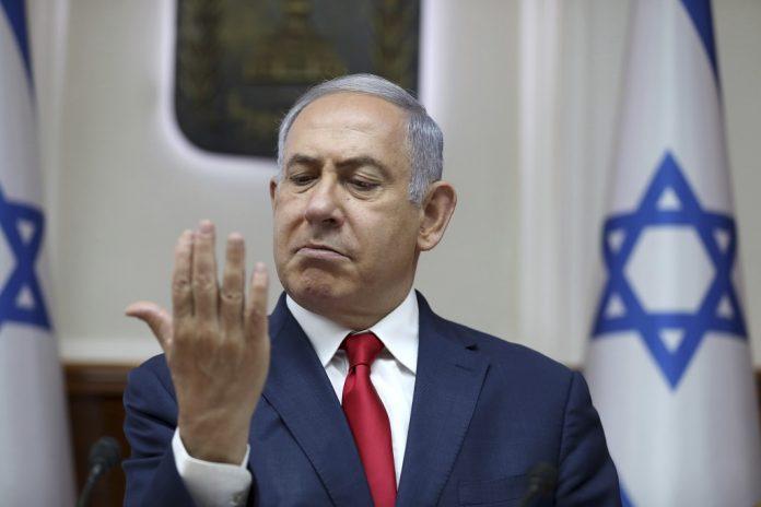 Benjamin Netanjahu izraeli miniszterelnök a kabinet heti tanácskozásán a jeruzsálemi hivatalában 2019. július 7-én. - fotó: Abir Szultan / MTI / EPA Pool