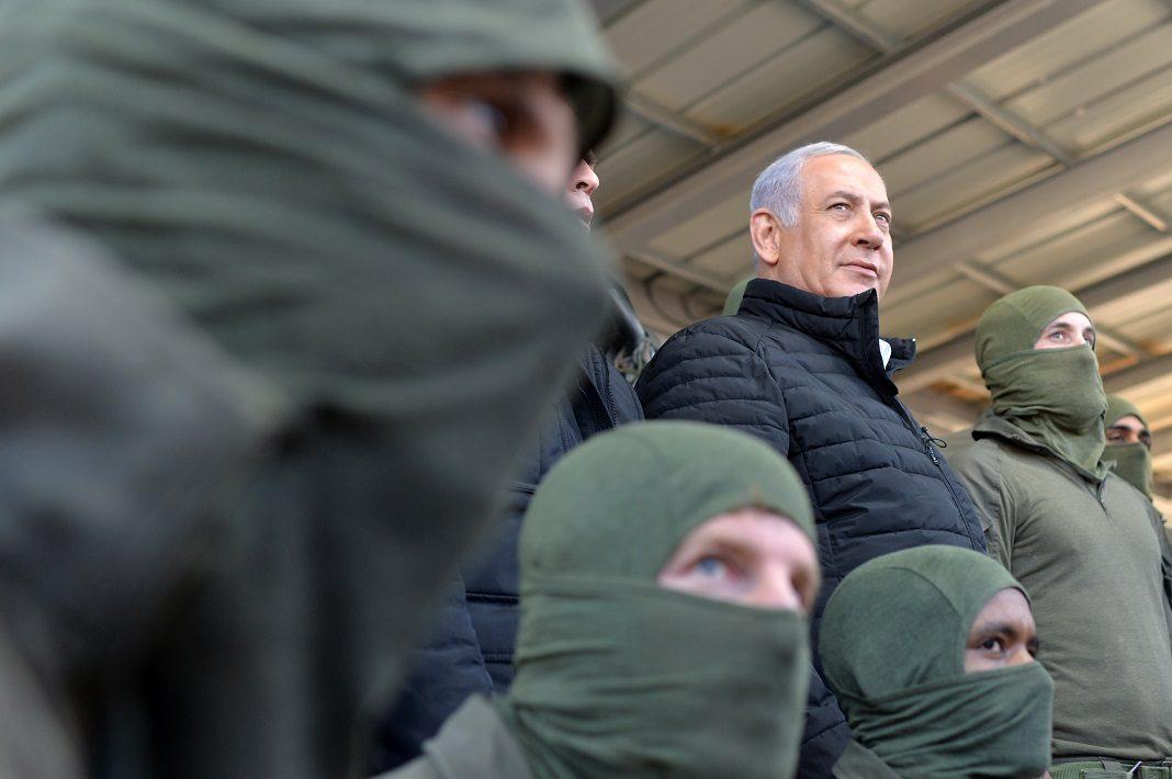 Benjamin Netanjahu miniszterelnök a határőrség különleges egységének katonáival 2019 januárjában - fotó: Kobi Gideon / GPO